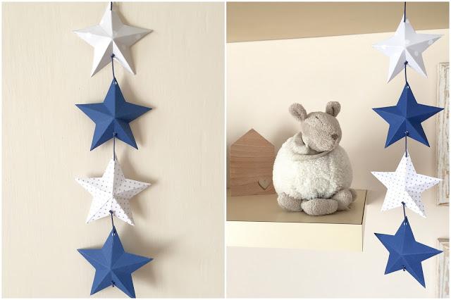 3D paper stars garland