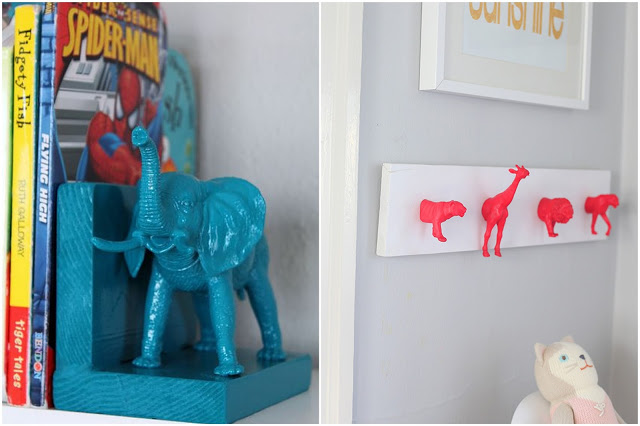 Fluo animals book shelf and hooks