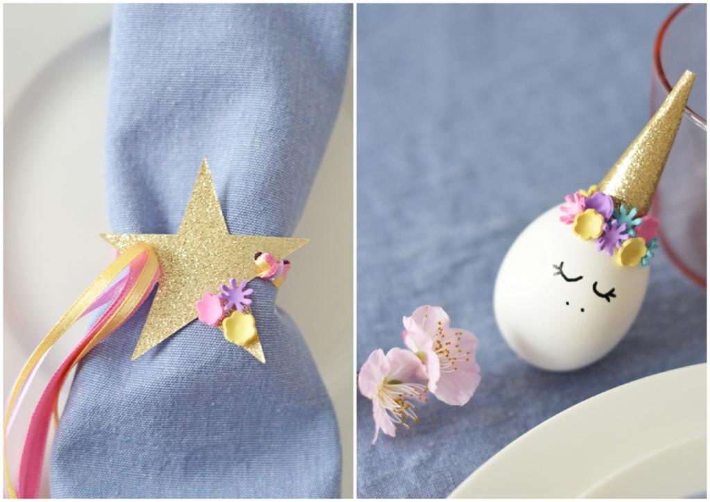 Tavola di Pasqua unicorno e arcobaleno